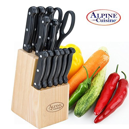 Stainless Steel 13 Piece Kitchen Knife Set with Block, Cutlery Set, Chef Knife, Utility Paring Knife, Steak Knives, Scissors A, Bread Knife Slicing Knife, Pizza Cheese cutting knife, stainless ()