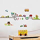 Cartoon Cars Highway Track Wall Stickers for Kids Rooms Sticker for Bedroom Decor Kindergarten Wall Art Decals