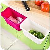 Honice Creative Multifuctional Plastic Kitchen Desktop Hanging Food Waste Garbage Bowl Bin Rubbish Organizer Trash Junk Box, Compost Pail Bin, Scrap Trap(3 Colors Optional) (Green)