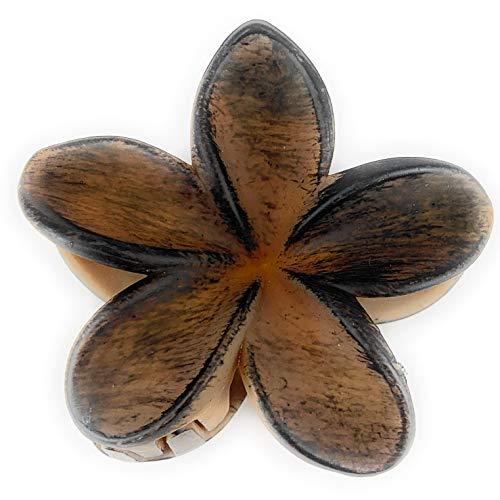 - Brown Dk Brown Plumeria Hawaiian Flower Barrette Hair Clip Claw Clamp 3inches Wide Wood Grain