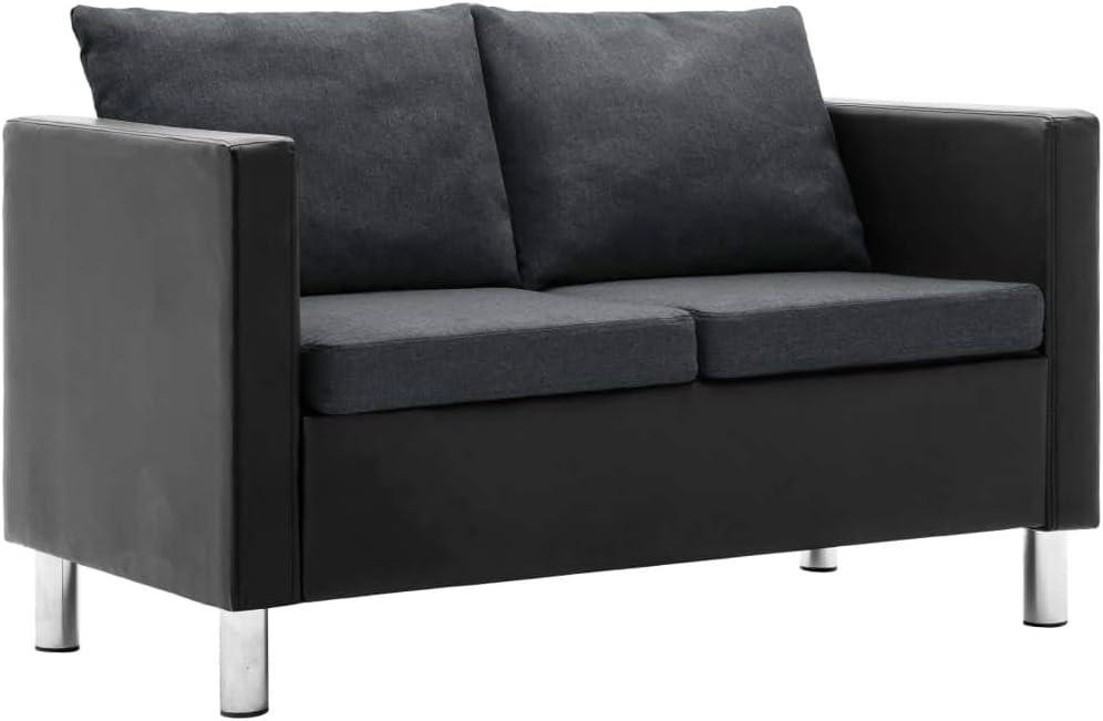 Festnight canap/é /à 2 Places canap/és de Salon Confortable canap/é Moderne Bois Noir et Gris fonc/é 119 x 61 x 62 cm