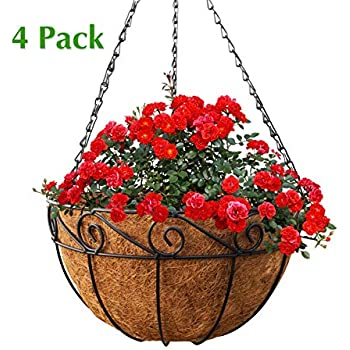 Garden Pots & Planters Metal Hanging Planter Coconut Half Round Basket Steel Wires Plant Holder Hanging Window Pots Indoor Outdoor Flower Baskets