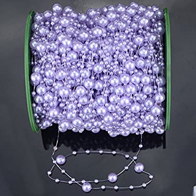 Krismile®200 Feet Roll Purple Pearl String Party Garland Wedding Centerpieces Bridal Bouquet Decoration Pearl String Bead Garland Wedding Decoration DIY Table Centerpieces Bridal Shower Party Supplies