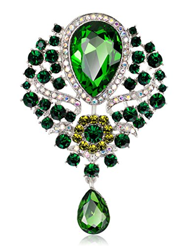 Green Womens Brooch - YiYi Operation Teardrop Flower Austrian Crystal Bouquet Brooch Pendant Pins Bridal Jewerly
