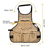 BOJECHER Tool Apron - Professional Heavy Duty Work Apron with 14 Tool Pockets and Adjustable Belt Water-resistant Garden Tool Apron for Men & Women, Brown