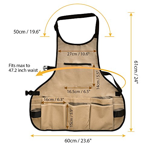 BOJECHER Tool Apron - Professional Heavy Duty Work Apron with 14 Tool Pockets and Adjustable Belt Water-resistant Gardening Woodshop Aprons for Men & Women, Carpenters Bakers and Machinists by BOJECHER (Image #1)