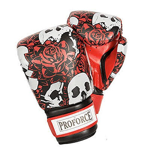 White Skull Rose (Pro Force Leatherette Boxing Gloves with White Palm (Skull w/Roses, 12 oz.))