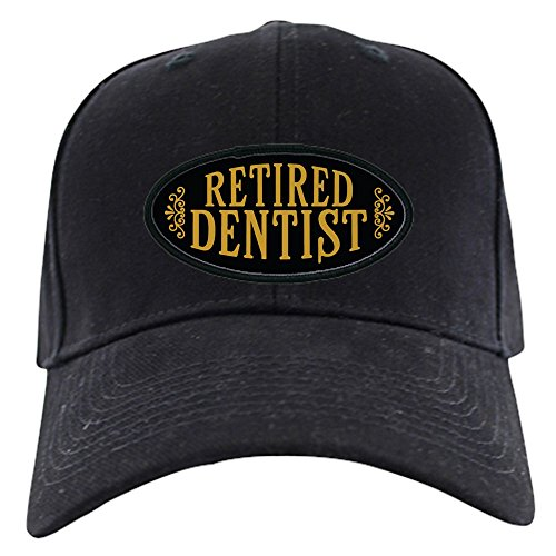 CafePress – Retired Dentist Black Cap – Baseball Hat, Novelty Black Cap