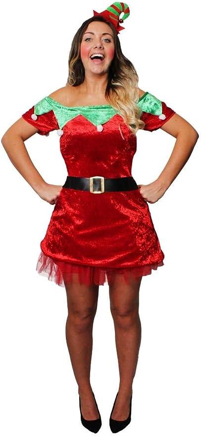 ILOVEFANCYDRESS Disfraz DE Elfo Sexy para Mujer Vestido Rojo con ...