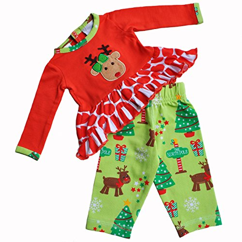 AnnLoren Rudolf and Dots Christmas Outfit fits AG and 18 inch Dolls Clothing (Outfit Christmas Tree Annloren)