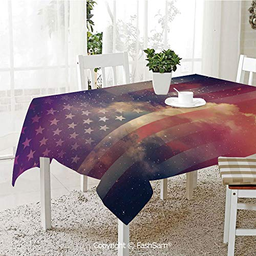 FashSam Party Decorations Tablecloth Exposure USA National in Outer Space Night Cloudy Free Universe Display Dining Room Kitchen Rectangular Table Cover(W55 -
