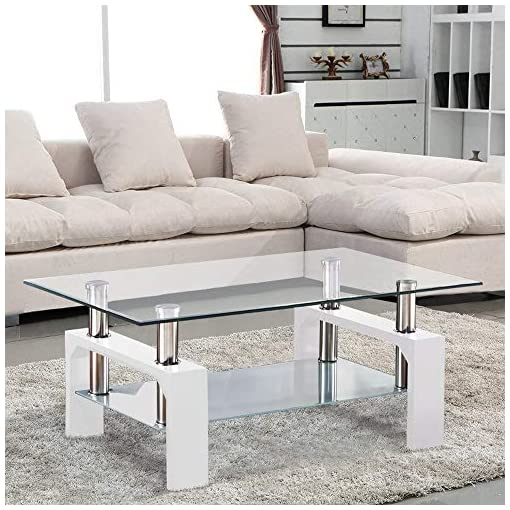 Living Room Mecor Rectangle Glass Modern Coffee Table with Shelf & Wood Legs Suit for Living Room White modern coffee tables