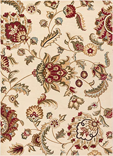 Well Woven Grand Garden Ivory Floral Oriental Modern Formal Area Rug 5x7 (5'3
