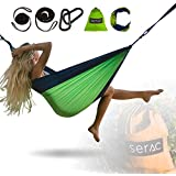 Serac [Durable Hammock & Strap Bundle] Classic Portable Single Camping Hammock with Suspension System - Perfect for the backpack, lightweight travel and camping (Forest Stream Blue/Green)