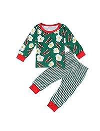 Toddler Kid Boys Girls Pajamas Set Long Sleeve T-shirt Tops + Stripes Pants