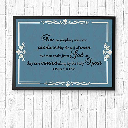 HaiGuoQu for no Prophecy was Ever Produced by The Will of Man, but Men Spoke from God as.Christian's Gifts Bible Verse Posters for Office and Room Scripture Quotes Printed Wall Art Framed 12x10in (Bible Verses On The Gift Of Prophecy)