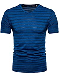 GREFE Men's 2018 Summer New Style Casual Stripe Print V Neck Pullover T-Shirt Top Blouse