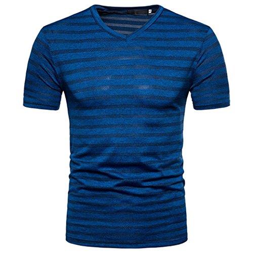 GREFE Men's 2018 Summer Casual Stripe Print V Neck Pullover T-Shirt Top Blouse (M, Blue)