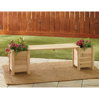 Amazing Amazon Com Wooden Bench With 2 Side Planters Garden Uwap Interior Chair Design Uwaporg