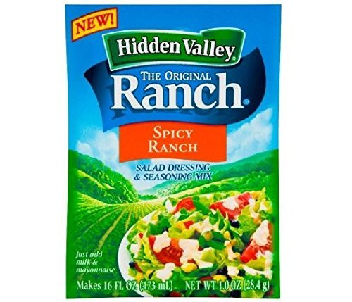 Hidden Valley Spicy Ranch Salad Dressing & Seasoning Mix (Pack of 4) 1 oz Packets