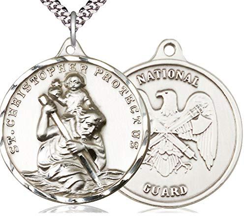 Pewter St. Christopher/National Guard Medal, 1-1/4