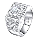 Men's Sterling Silver .925 Ring with White Round Cubic Zirconia Center Stone Surrounded by White Cubic Zirconia (CZ) Stones (8)