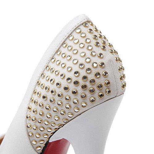 Odomolor Mujeres Tacón de aguja Sin cordones Puntera Redonda Cerrada De salón con Diamante Blanco