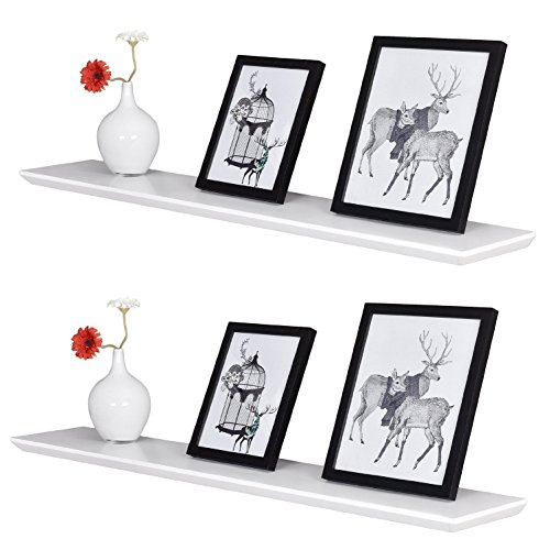 WELLAND Beveled Wall Shelf Display Floating Shelves Set of 2 (White, 36