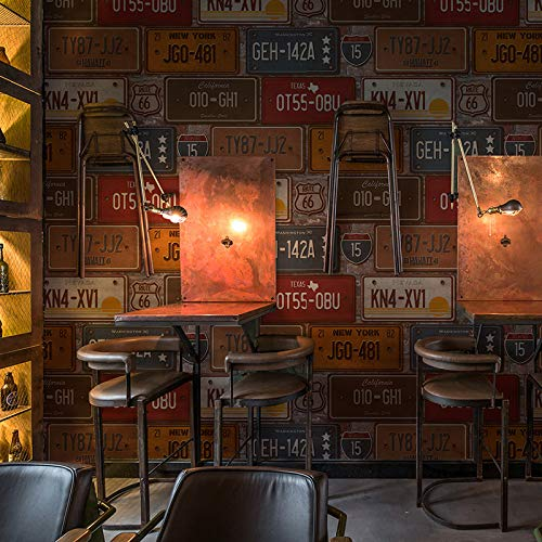 (Jhyhome 3D Retro Nostalgic Creative Letters License Plate Wallpaper bar Restaurant PVC Industrial Wind Wallpaper, Rust red)