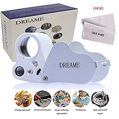 DREAME 30X 60X LED Lighted Illuminated Jewelers Eye Loupe Jewelry Magnifier for Gems Jewelry Rocks Stamps Coins Watches Hobbies Antiques Models Photos