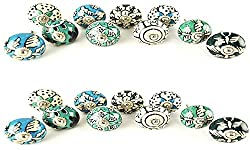 JGARTS 20 Knobs Hand Painted Ceramic Knobs Cabinet Drawer Pull Pulls