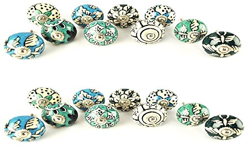 JGARTS 20 Ornate Blue Floral Ceramic Knobs for Cabinets & Cupboards - Hand Painted Pulls