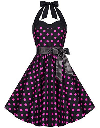 para Unicolor schwarz cuello Vestido mangas Lunares mujer hálter rot Sin Zarlena Sin cuello v8wFqx7