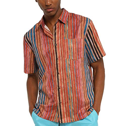 Men's Casual Button-Down Shirts, Colorful Stripe Short Sleeve Loose Beach Pocket Fitness Top Red ()
