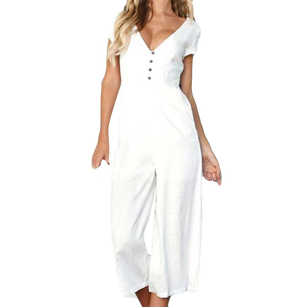 WUAI Camisole Jumpsuits for Women - Ladies Summer Sleeveless Backless Loose Long Rompers Club Outfits(White,Large)
