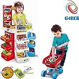 G4RCE Kids Large Super Store Supermarket Market Stall Pretend Play Set Cash Register Food Toy Shop Shopping Basket UK