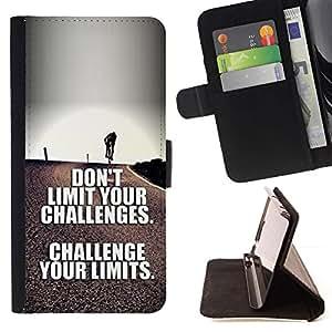 Momo Phone Case / Flip Funda de Cuero Case Cover - Limites de texte Inspirational - Samsung Galaxy Note 5 5th N9200