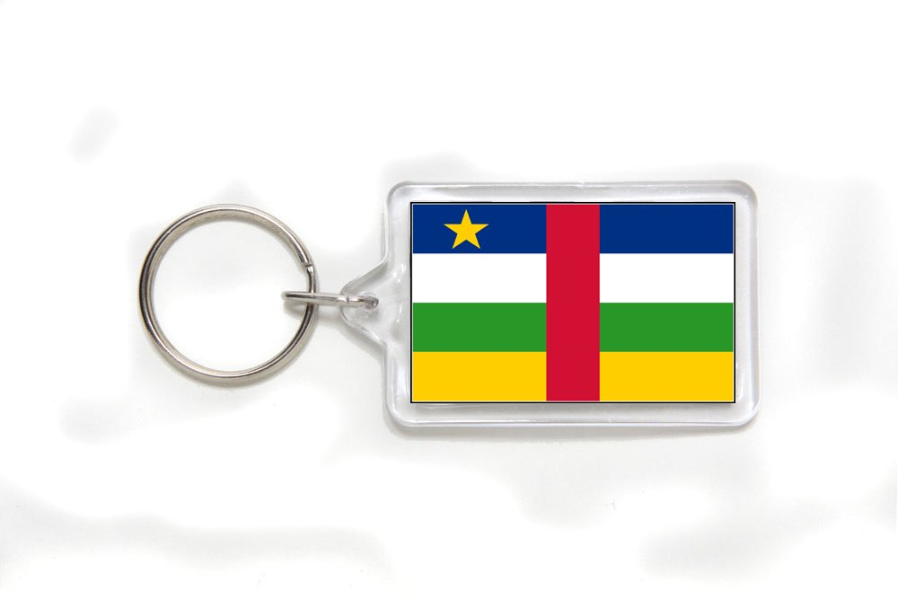 Central African Republic Flag Double Sided Acrylic Key Ring Small