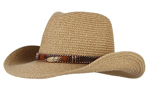 Gemvie Cowboy Hat Floppy Sun Hat Straw Summer Beach Cap Wide Brim Straw Hats Brown