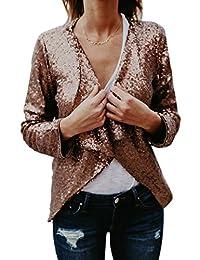 Women Elegant Shawl Collar Long Sleeve Sequins Blazer Party Jackets