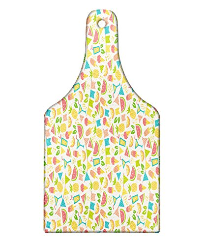 Lunarable Party Cutting Board, Exotic Pineapples and Watermelon Slices with Ice Cream Cocktail Colorful Party Flags, Decorative Tempered Glass Cutting and Serving Board, Wine Bottle Shape, Multicolor