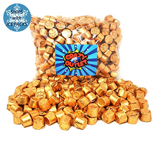 CrazyOutlet Pack - Rolo Chewy Caramel Chocolate Candy, Copper Foil Wrap, Wedding Gold Candy, 2 lbs