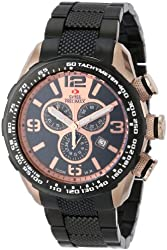 Swiss Precimax Men's SP13133 Deep Blue Pro III Rose-Gold Dial with Black Stainless Steel Band Watch