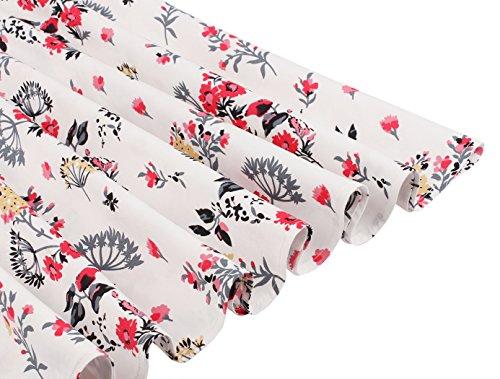 FAIRY Weiße corte Rote Vestito COUPLE Sera Donna L Maniche Blumen Kleine PqrPYw