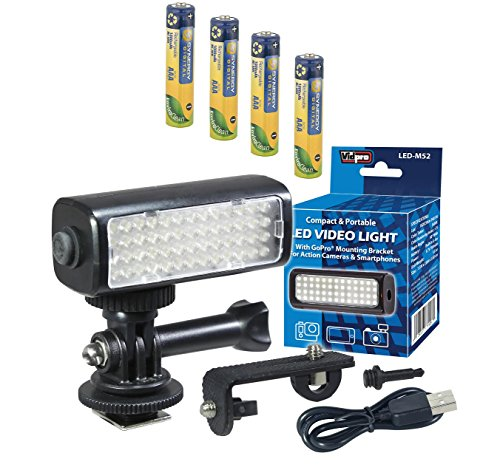 Sony Cyber-Shot DSC-HX400V Digital Camera Lighting LED-M52 Mini LED Light for Action Cameras, Camcorders and Phones - Plus a Free Pack of 4 AAA NiMH Rechargable Batteries - 1000mAh by Synergy Digital