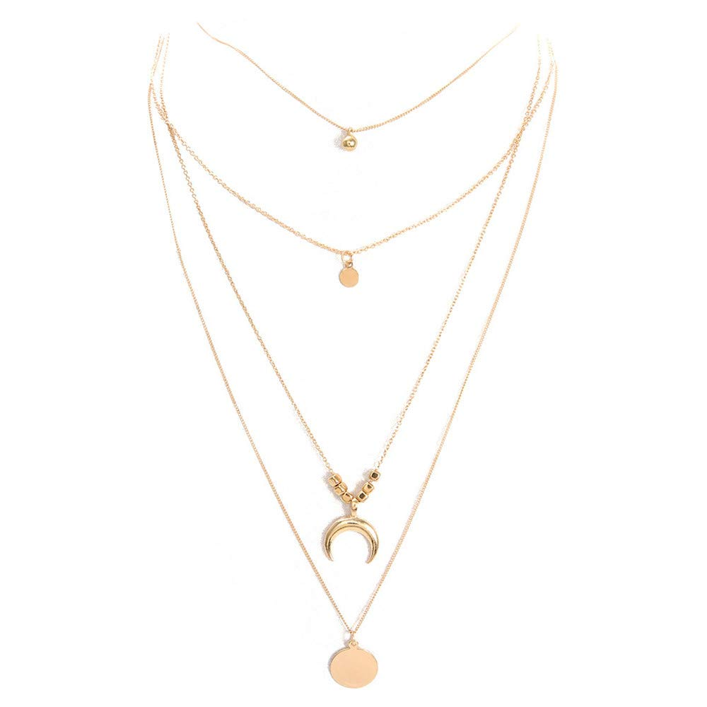 Gold LIEJIE Women Fashion Moon CrossPendant Necklace Chain Elegant Jewelry Pendant Necklace Stainless Steel Designed Necklace for Sports Gifts