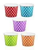 8 oz yogurt cups - Primary Purple Polka Dot Ice Cream Cups 8 oz - 50 count