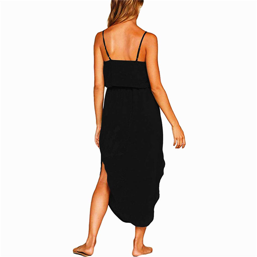 Dresses Women's Summer Casual Adjustable Strappy Solid Dress Sleeveless Side Split Beach Midi Sun Dress (Black, L) by miqiqism (Image #3)