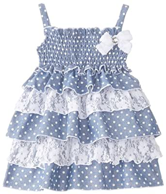 Little Lass Baby Girls' Printed Lace Ruffle Dress, Chambray, 12 Months