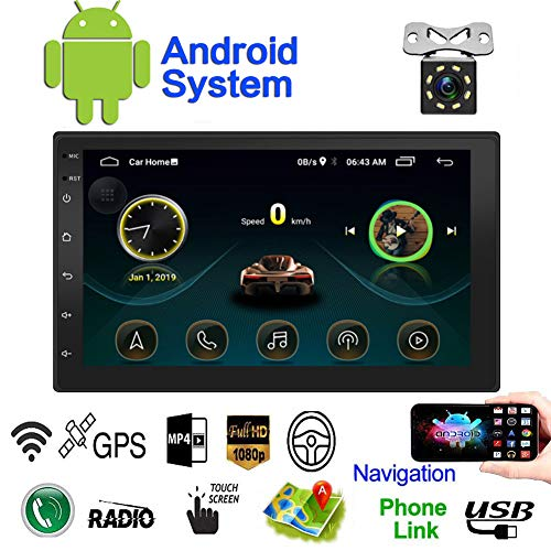 Double Din Android Car Navigation Stereo Standard 1G/16G Car Entertainment Multimedia Radio,WiFi/BT Tethering Internet, GPS (Android with GPS 1G) (Best Gps Navigation App)